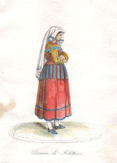 1840 donna di Filettino (Frosinone) costumi bulino acquarellato Folk Costume, Italian Fashion, Fashion History, Italy, Culture, Popular, Traditional, Artist, Clothing