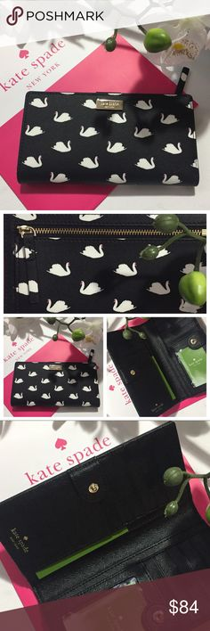 Kate Spade Swan Wallet KSNY Stacy Mini Swan Wallet, NEW! Black leather, Gift bag included. Any questions 🤔 lmk, quick ship! Kate Spade Bags Wallets