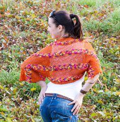 Knitted Summer Shrug/ Orange Shrug/ Elegant Hand Knit by Solandia