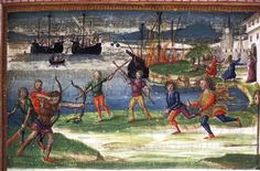 Detail of a miniature of the Sicilian games, including a boat race, archery, wrestling with staffs, and racing, and in the background,  the burning of the Trojan fleet, at the beginning of book V of Virgil's Aeneid, Italy (Rome), between 1483 and 1485, King's 24, f. 115