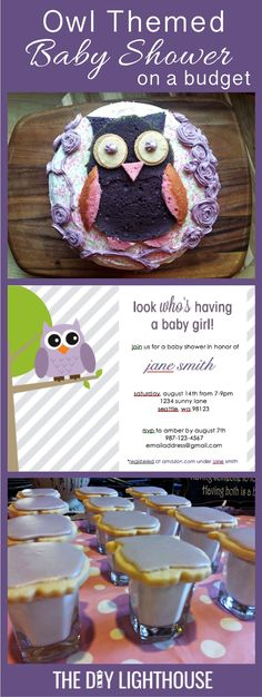 Owl themed baby shower on a budget! Ideas and inspiration for throwing an owl themed baby shower. Invitations, food, decor, and party favor ideas on The DIY Lighthouse. (birthday food ideas on a budget) Baby Shower Cards, Baby Shower Favors, Baby Shower Themes, Baby Shower Decorations, Baby Shower Invitations, Shower Ideas, Bridal Shower, Babyshower, Budget Baby Shower