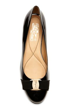 Varina Patent Leather Bow-Detailed Flats by Salvatore Ferragamo Now Available on Moda Operandi