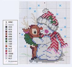 10 easy free cross stitch patterns Snowman.