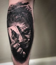 T-shirts with prints on the theme of tattoos, barbering, men's style, hipsters Half Sleeve Tattoos Forearm, Half Sleeve Tattoos For Guys, Forarm Tattoos, Leg Tattoo Men, Leg Tattoos, Batman Joker Tattoo, Clever Tattoos, Badass Tattoos, Tattoo Sleeve Designs
