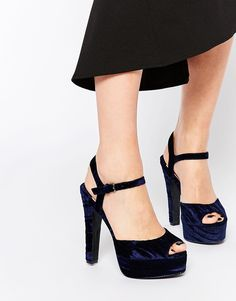 Buy Faith Lotus Velvet Navy Platform Sandals at ASOS. With free delivery and return options (Ts&Cs apply), online shopping has never been so easy. Get the latest trends with ASOS now. Navy High Heels, Navy Blue Shoes, Chunky High Heels, Navy Sandals, Fall Shoes, New Shoes, Women's Shoes, 2015 Fashion Trends, Velvet Shoes
