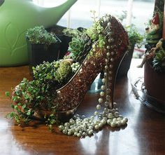 shoe planters, miniature gardens, fairy gardens, high heel pumps, high heel platform shoes, flowers, copper sequins, red patent leather, sequin shoes