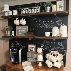 I was scrolling through instagram trying to find some awesome coffee bar ideas for my friends home and we came across Julie's @myfarmhousegrounds and I'm sharing it for #swoonworthysaturday. We loved the painted chalkboard idea, the industrial shelves and all the cute little fillers! Julie you really did a fantastic job on this coffee bar and it is truly swoon worthy! It makes me want to try to find a place to create one in my home. . . #antiques #coffeebar #keurig #styledsaturdaysigns...
