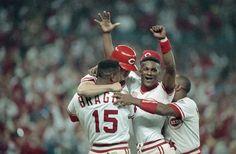 1990 World Series game 2 - Eric Davis, Glenn Braggs, Billy Bates, Billy Hatcher
