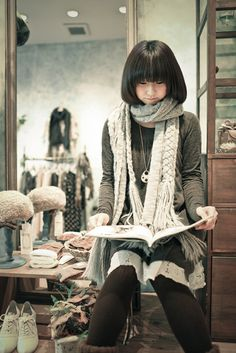 everyday look, sweater dress, tights, long knitted scarf. great w boots