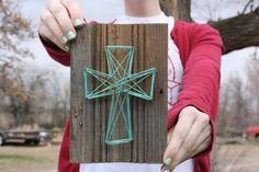Reclaimed Wood Trim with String Art Cross Wall by dandyloveco