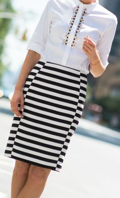 black and white striped pencil skirt + embellished black and white jewel button front oxford shirt