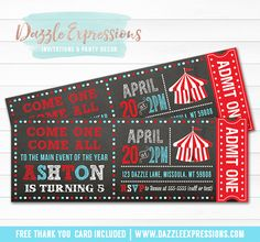 Printable Chalkboard Circus Ticket Birthday Invitation | Red, white and blue | Carnival | Event | Cupcake Toppers | Food Labels | Favor Tags | Party Package Decor Available! www.dazzleexpressions.com