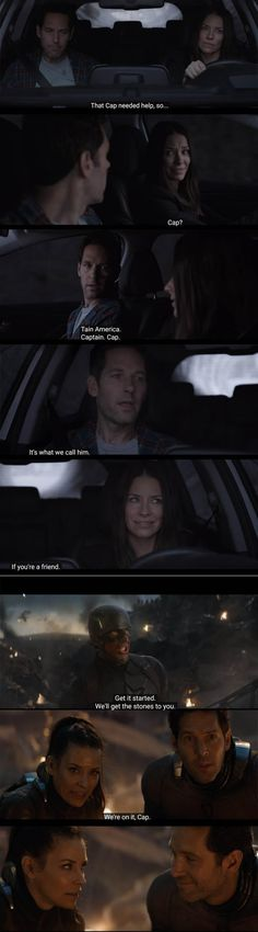 """In Ant-Man and the Wasp, Hope mocks Scott for referring to Captain America as """"Cap."""" In Endgame, Scott gives her a look after she does the same thing. 23 Marvel Movie Details That Show How Much Thought Went Into Them Avengers Movies, Marvel Avengers, Marvel Comics, The Original Avengers, Conversation, The Infinity Gauntlet, Soul Stone, Sites Online, The Dark World"""