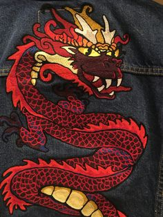 Embroidered year of the dragon customized Levi's denim trucker jacket Levis tailor shop