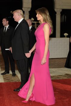 Melania Trump wearing hot pink patent-leather pumps at the Red Cross Gala at Donald Trump's Mar-a-Lago resort in Palm Beach, Fla.