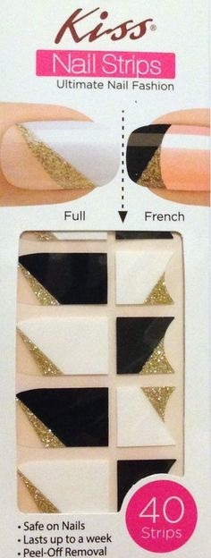 Kiss Nail Stick on Applique Strips French or Full 40 Strips # DMT 575 Flare #KissNailDress