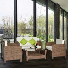 muebles de ratan jardin set piezas rattan sofa mesa cojines terraza mueble