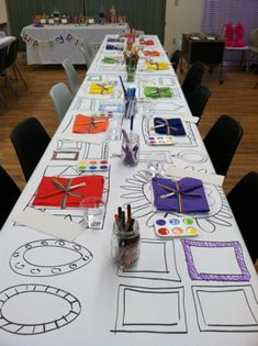 rainbow art party - paper table cloth with picture frames drawn on it