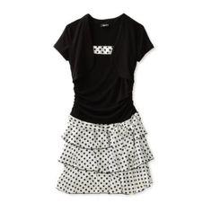 Amy Byer Girls 7-16 Sleeveless Charmeuse Dot Tiered Dress $33.60