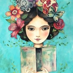 Her hand etsy ainsi, claudia tremblay, tolle bilder, illustration blume, gr Art And Illustration, Claudia Tremblay, Reading Art, Reading Books, Oeuvre D'art, Watercolour Painting, Easy Drawings, Fine Art Paper, Book Art
