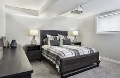 This is the basement bedroom of the Tweed bungalow model home in Russell. There is also a finished basement bathroom in this model. Basement Bedrooms, Basement Bathroom, Finished Basements, Semi Detached, Model Homes, Bungalow, Townhouse, Tweed, Furniture