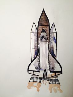Space shuttle watercolor