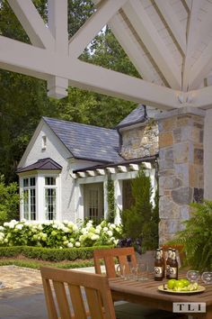 gables and connecting pergola Outdoor Rooms, Outdoor Living, Indoor Outdoor, Outdoor Decor, Outdoor Ideas, Porches, Traditional Exterior, The Ranch, Bay Window