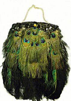 Pea Ostrich Feather Victorian Wedding Bridal Evening Purse