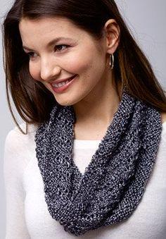 Patons® Metallic™ Spiral Cowl #knit #pattern