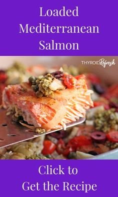 This Loaded Mediterranean Salmon is a meal that dazzles the eye, tickles the tastebuds, and is full of thyroid-loving nutrition. Mediterranean Salmon, Mediterranean Recipes, Ketogenic Recipes, Healthy Recipes, Eat Healthy, Dairy Free Pesto, Thyroid Diet, Thyroid Symptoms, Thyroid Health