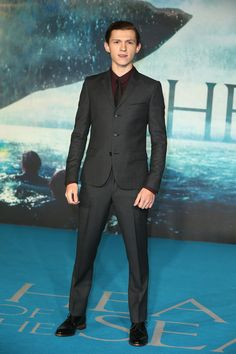 Tom Holland in a three-button suit at In the Heart of the Sea UK Premiere