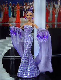 Barbie Miss Dominica Ninimomo 2012 Barbie Gowns, Barbie Dress, Barbie Clothes, Origami Vestidos, Miss Pageant, Barbie Basics, Diva Dolls, Beautiful Barbie Dolls, Barbie Patterns