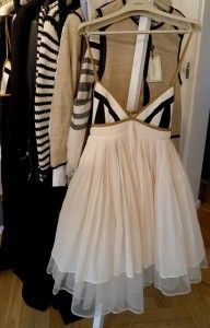 white dress, with black striped top and spaghetti straps