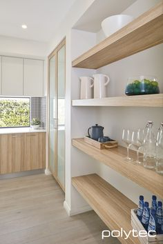 Love these shelves for our pantry. Shelving, base and pantry doors in RAVINE Natural Oak. Overhead doors in MELAMINE Classic White Matt. Kitchen Doors, Kitchen Shelves, Kitchen Tiles, Wood Shelves, New Kitchen, Kitchen Design, Pantry Doors, Open Shelves, Glass Shelves