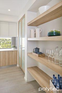 Shelving, base and pantry doors in RAVINE Natural Oak. Overhead doors in MELAMINE Classic White Matt.