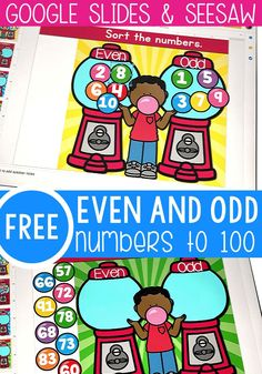 Even and Odd Numbers Interactive Activity Interactive Activities, Kindergarten Math Activities, Educational Games, Interactive Board, Number Activities, Physical Activities, Learning Numbers, Numbers Kindergarten, Even And Odd