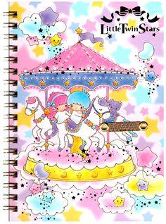 Sanrio Little Twin Stars Carousel B6 Hard-Cover Notebook
