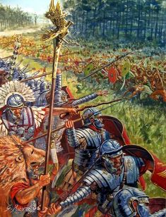 Roman war with the Dacians - art by Giuseppe Rava ~ Of special note is the extra armour the legionaries wear on their arms. This was developed during the Dacian wars to help protect the Romans from the falx, a scythe like weapon the Dacians used with great effect against the Romans' Lorica segmentata armour. It sliced right through!