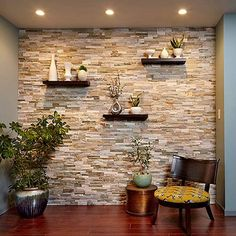 Create a Faux Stone Accent Wall - Cover a wall with stone veneer and transform a room! You can transform any room with a stunning stone accent wall like this. Faux Stone Walls, Stone Accent Walls, Faux Brick, Stone Wall Tiles, Kitchen Accent Walls, Kitchen Stone Wall, Faux Stone Wall Panels, Faux Stone Veneer, Wooden Accent Wall