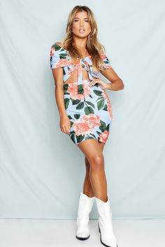 c99ee84aae2 Off The Shoulder Floral Bodycon Dress