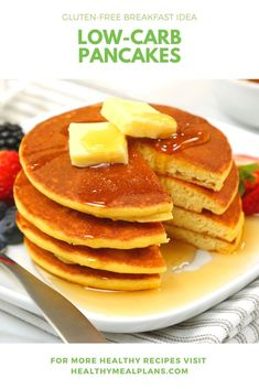 These fluffy pancakes only require 5 ingredients and are ready in under 30 minutes! They are made with almond flour so they are packed with healthy fat and protein! Breakfast Options, Low Carb Breakfast, Breakfast Recipes, Low Carb Desserts, Low Carb Recipes, Healthy Recipes, Low Carb Pancakes, Gluten Free Breakfasts, Recipe Details