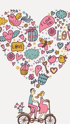 Romantic vintage seamless pattern. Tap image for more iPhone cute vintage wallpaper!   - @mobile9   Wallpapers for iPhone 5/5s, iPhone 6 & 6 plus #doodle #art #love #heart