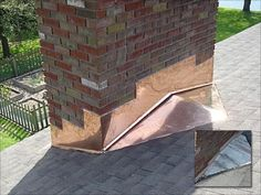 Copper step flashing at wide masonry chimney on shingle roof (with cricket) Copper Roof, Metal Roof, Diy Storage Cabinets, Roof Restoration, Chimney Cap, Home Improvement Contractors, Roof Repair, Home Repairs, Cabin Homes