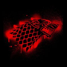Hilarious Delusions Game of Thrones Stark Sigil Dire Wolf Winterfell Spray Paint red