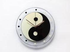 Yin Yang Hand Painted Glass Wall Clock Modern by MilliartGlass, $80.00