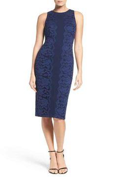 Maggy London Lace & Crepe Midi Dress