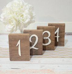 Rustic table numbers, barn wooden table numbers, rustic wedding - custom colors