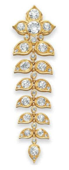 "A DIAMOND AND GOLD ""GUIRLANDE DE FEUILLES"" BROOCH, BY RENE BOIVIN Designed as an articulated tapered garland of old European and old mine-cut diamond leaves, each with 18k gold trim, spaced by collet-set diamonds, mounted in 18k gold, 1947, with French importation marks (partially indistinct) Signed René Boivin"