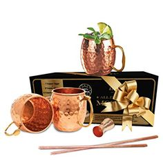 Moscow Mule Copper Mugs - Set of 2 - Handcrafted Cups - Size - 2 Cocktail Straws - 1 Jigger Shot Glass - Food Safe Pure Solid Copper - Brass Thumb Rest for Comfortable Grip - Birthday Gifts Cocktail Recipes, Cocktails, Drinks, Copper Cups, Copper Moscow Mule Mugs, Bar Accessories, Mugs Set, 100 Pure, Safe Food