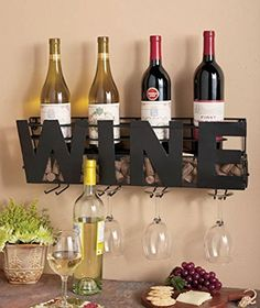"""Premium Black Wall Mount Metal Wine Rack With """"Wine"""" or """"HOME"""" Word By Besti - Hanging Bottle & Corks, Wine Glasses Holder Storage, Decorative Display - Home Décor For Living Room Or Kitchen by Besti, http://www.amazon.com/dp/B00RPVUCPU/ref=cm_sw_r_pi_dp_x_2HoEzbMWPV9YS"""